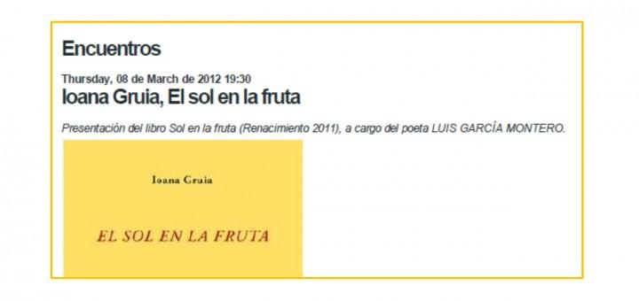 Madrid, Presentación del libroEl sol en la fruta y lectura poética