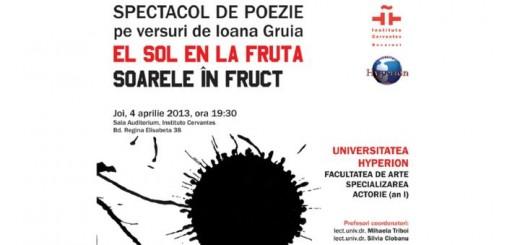 Bucarest, Recital en español y en rumano de poemas deEl sol en la fruta